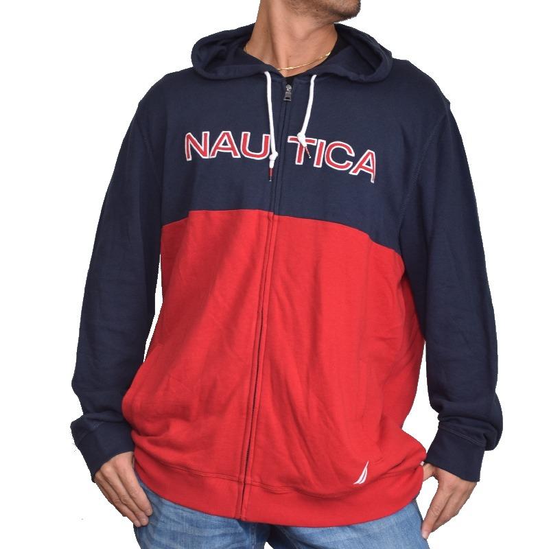 【SALE】 大きいサイズ メンズ NAUTICA ノーティカ ノーチカ パーカー スウェット 裏毛 フルジップ ロゴ刺繍 バイカラー ネイビー レッド 赤 刺繍 XL XXL