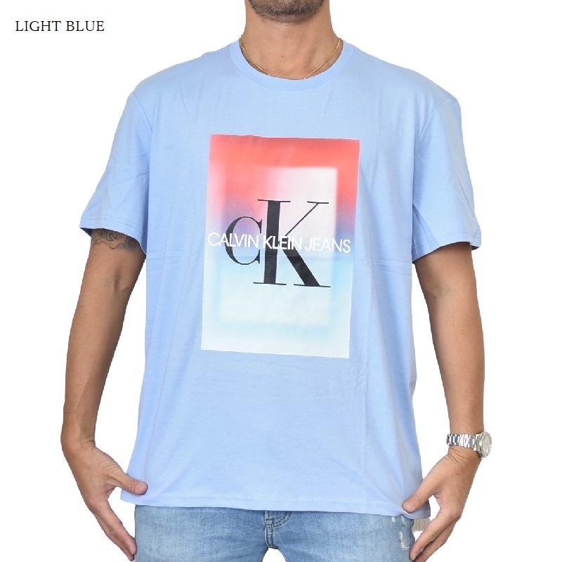 大きいサイズ メンズ CK カルバンクラインジーンズ Calvin Klein Jeans クルーネック 半袖Tシャツ 白 ホワイト 黒 ブラック ライトブルー XL XXL 【メール便対応】 [M便 1/1]