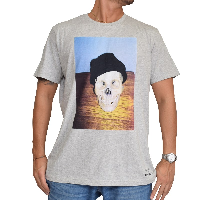 【SALE】 大きいサイズ メンズ ディーゼル Diesel 半袖 クルーネック Tシャツ 黒 グレー T-JOE-SK XXL 【メール便対応】 [M便 1/1]