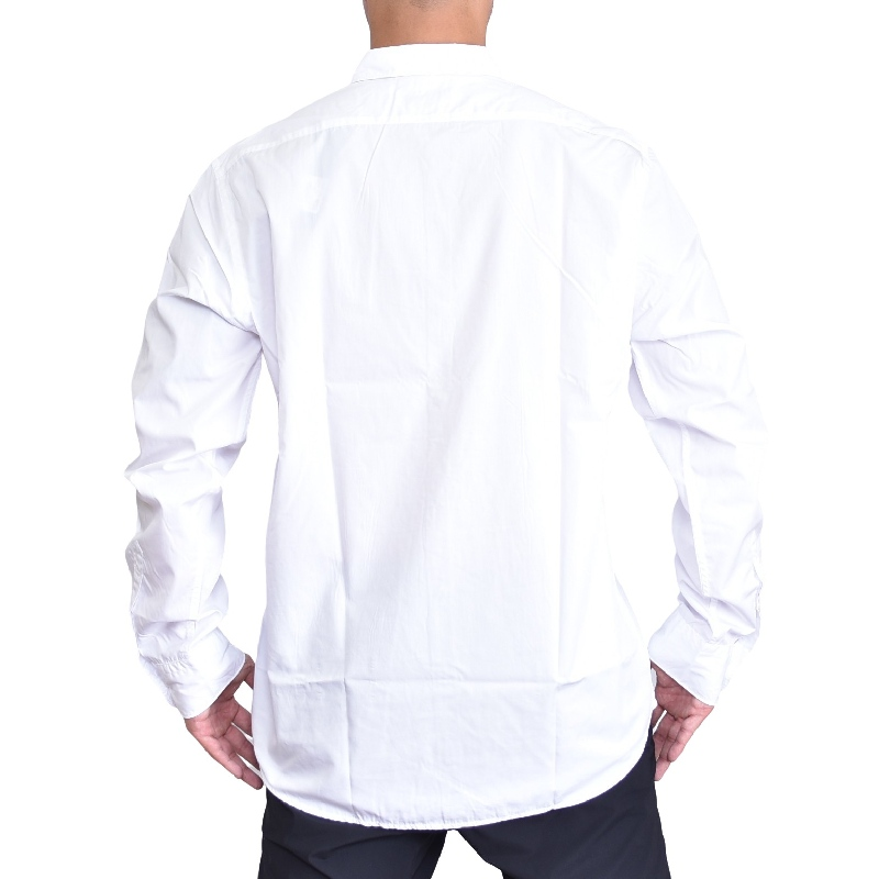 大きいサイズ メンズ REPLAY リプレイ 長袖シャツ コットンスラブポプリン 黒 ブラック 白 ホワイト XXL XXXL