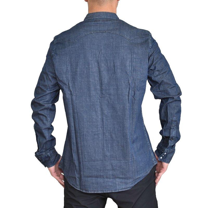 大きいサイズ メンズ REPLAY リプレイ 長袖シャツ  7OZ ブルーデニムシャツ AGED 1Year XXL XXXL