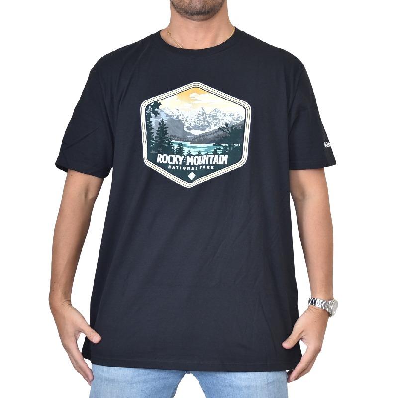 大きいサイズ メンズ Columbia コロンビア 半袖プリントTシャツ PEGASUS 黒 ブラック USAモデル XL XXL 【メール便対応】 [M便 1/1]