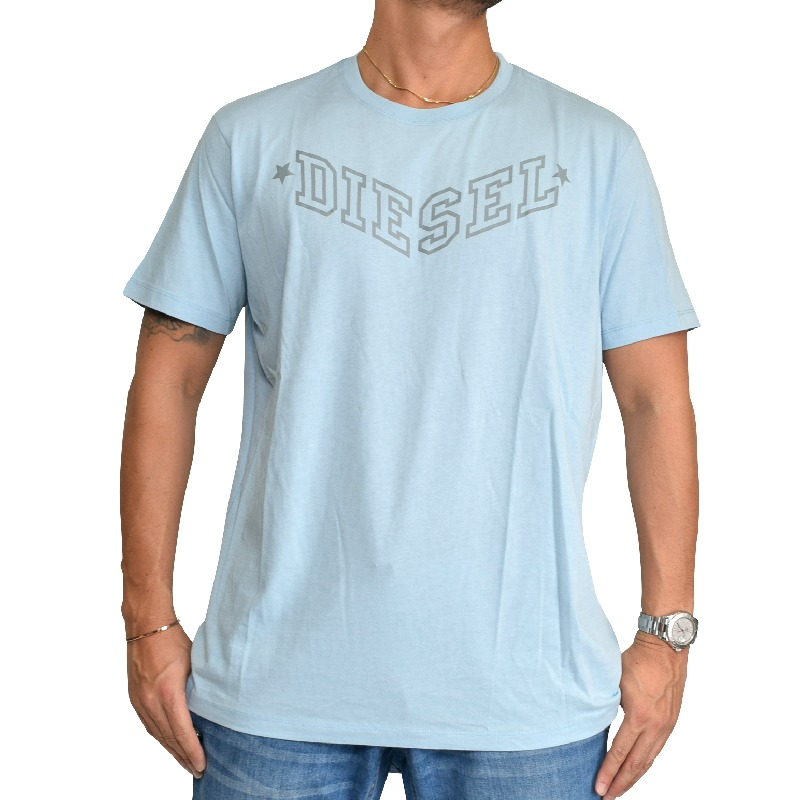 【SALE】 大きいサイズ メンズ ディーゼル Diesel 半袖 クルーネック Tシャツ ライトブルー T-JOE-I XXL 【メール便対応】 [M便 1/1]