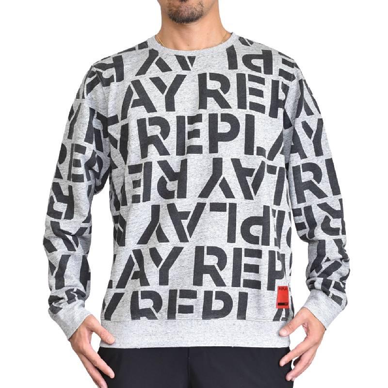 大きいサイズ メンズ REPLAY リプレイ クルーネック スウェットシャツ トレーナー ロゴ総柄 グレー XXL XXXL