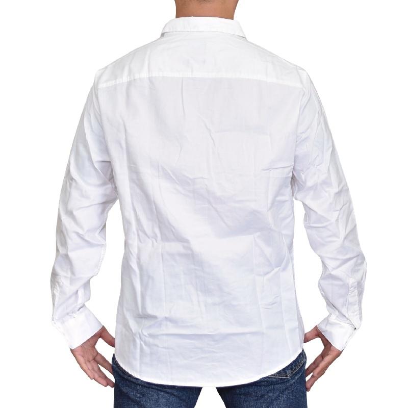 大きいサイズ メンズ アルマーニエクスチェンジ A/X ARMANI EXCHANGE ワンポイント デザイン カジュアル 長袖シャツ 白 ホワイト REGULAR FIT XL XXL