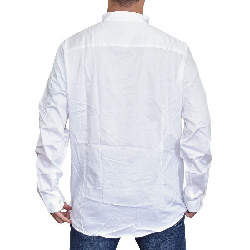 大きいサイズ メンズ アルマーニエクスチェンジ A/X ARMANI EXCHANGE 襟ロゴ刺繍 デザイン カジュアル 長袖シャツ SLIM FIT XL XXL