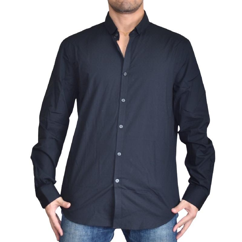 大きいサイズ メンズ アルマーニエクスチェンジ A/X ARMANI EXCHANGE ワンポイント 総柄 刺繍 デザイン カジュアル 長袖シャツ ブラック 黒 SLIM FIT XL XXL