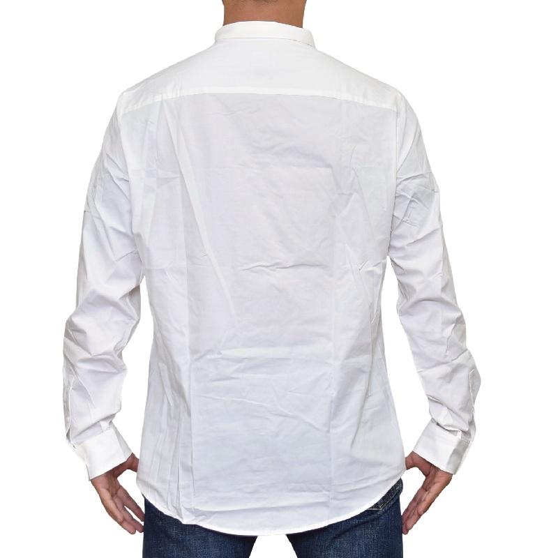 大きいサイズ メンズ アルマーニエクスチェンジ A/X ARMANI EXCHANGE ワンポイント デザイン カジュアル 長袖シャツ ホワイト 白 SLIM FIT XL XXL