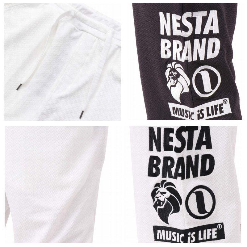 【SALE】 大きいサイズ メンズ NESTA BRAND ネスタブランド 吸水速乾 サイド ロゴ ジオメトリック ジャカード ショーツ ハーフパンツ 黒 白 ブラック ホワイト XXL XXXL
