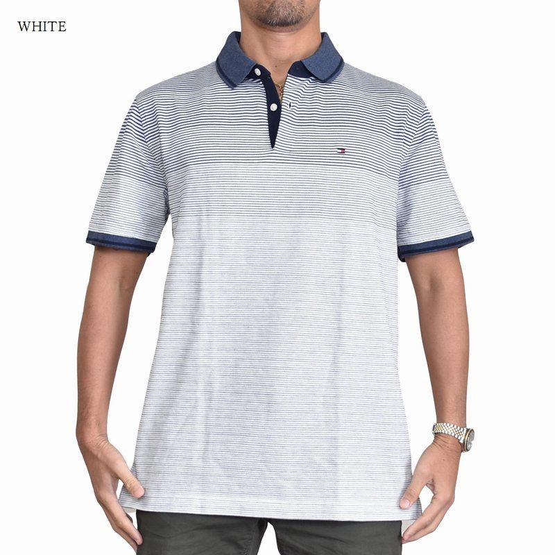 大きいサイズメンズ トミーヒルフィガー TOMMY HILFIGER 半袖 ポロシャツ ワンポイント ボーダー 白 ホワイト ネイビー XL XXL XXXL