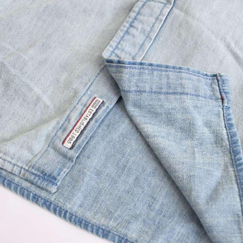 大きいサイズ メンズ トミーヒルフィガーデニム TOMMY HILFIGER DENIM 半袖シャツ デニムシャツ XXL XL