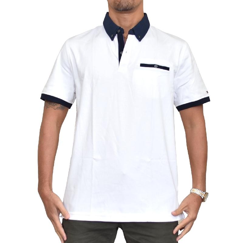 大きいサイズメンズ トミーヒルフィガー TOMMY HILFIGER 半袖 ポロシャツ ポケット ボタンダウン ホワイト 白 XL XXL