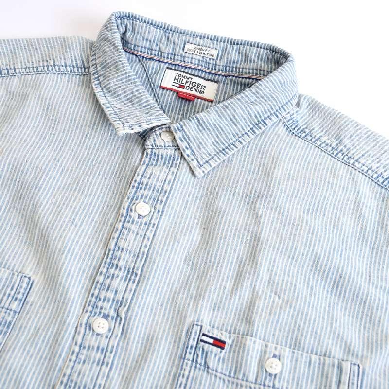 大きいサイズ メンズ トミーヒルフィガーデニム TOMMY HILFIGER DENIM 半袖シャツ ストライプ デニムシャツ XXL XL