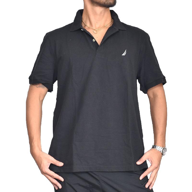 大きいサイズ メンズ NAUTICA ノーティカ ノーチカ ポロシャツ 半袖 鹿の子 ワンポイント 黒 ネイビー XL XXL XXXL