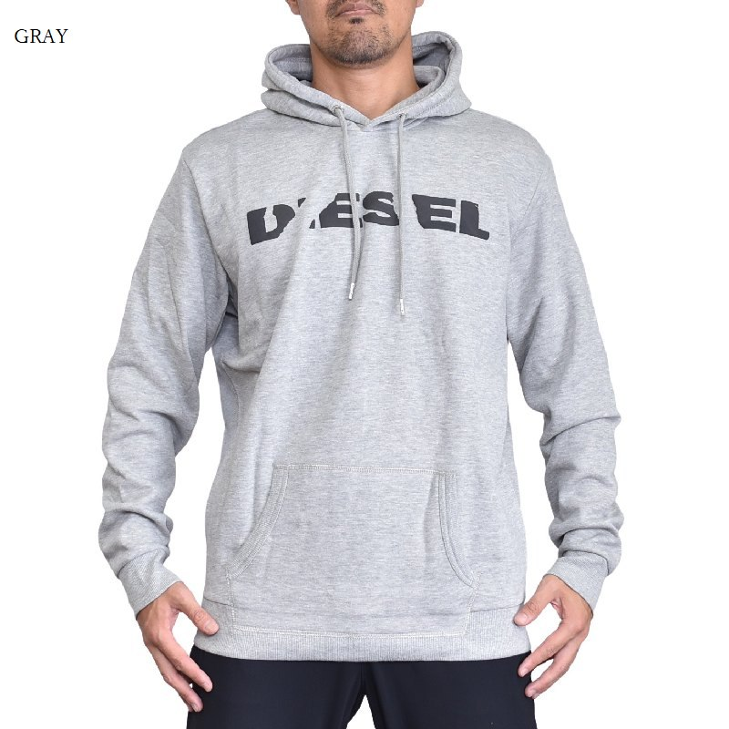 大きいサイズ メンズ Diesel ディーゼル パーカー プルオーバー スウェット 黒 グレー S-AGNES-BRO SWEAT-SHIRT XXL