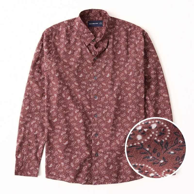 大きいサイズ メンズ アバクロ Abercrombie&Fitch 長袖シャツ ライトウェイト ボタンアップシャツ XXL