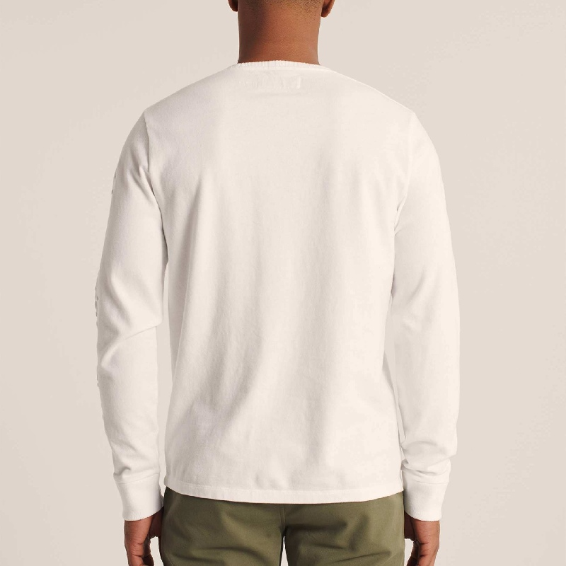大きいサイズ メンズ アバクロ Abercrombie&Fitch ロンT 長袖Tシャツ クルーネック エンボスロゴ XXL