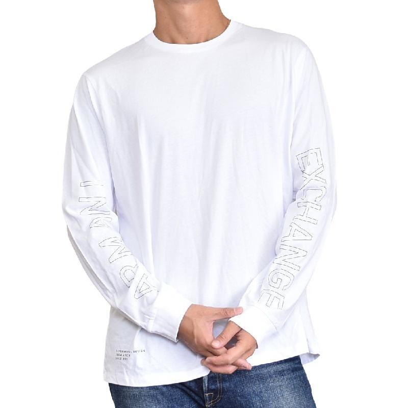 大きいサイズ メンズ アルマーニエクスチェンジ A/X ニット ロンT 長袖Tシャツ クルーネック 白 ホワイト ARMANI EXCHANGE XL XXL
