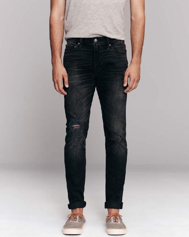 大きいサイズ メンズ アバクロンビー&フィッチ Abercrombie&Fitch スキニー ジーンズ デニムパンツ ジーパン ストレッチ ダメージ Ripped Super Skinny Jeans W38インチ