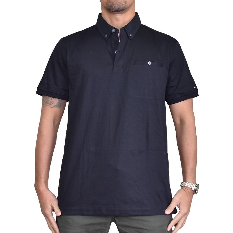 大きいサイズメンズ トミーヒルフィガー TOMMY HILFIGER 半袖 ポロシャツ ボタンダウン ポケット 黒 ブラック XL XXL
