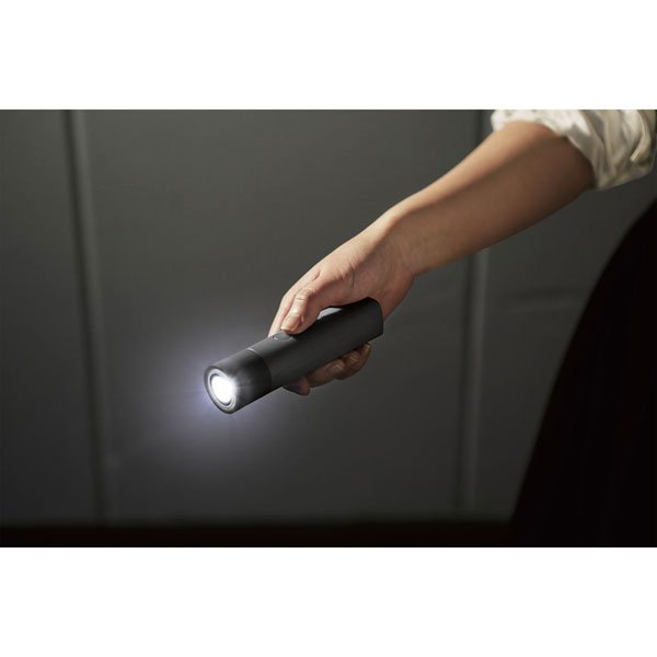防災LED付 モバイルバッテリ 懐中電灯型 DE-M20L-3350BK [ブラック]