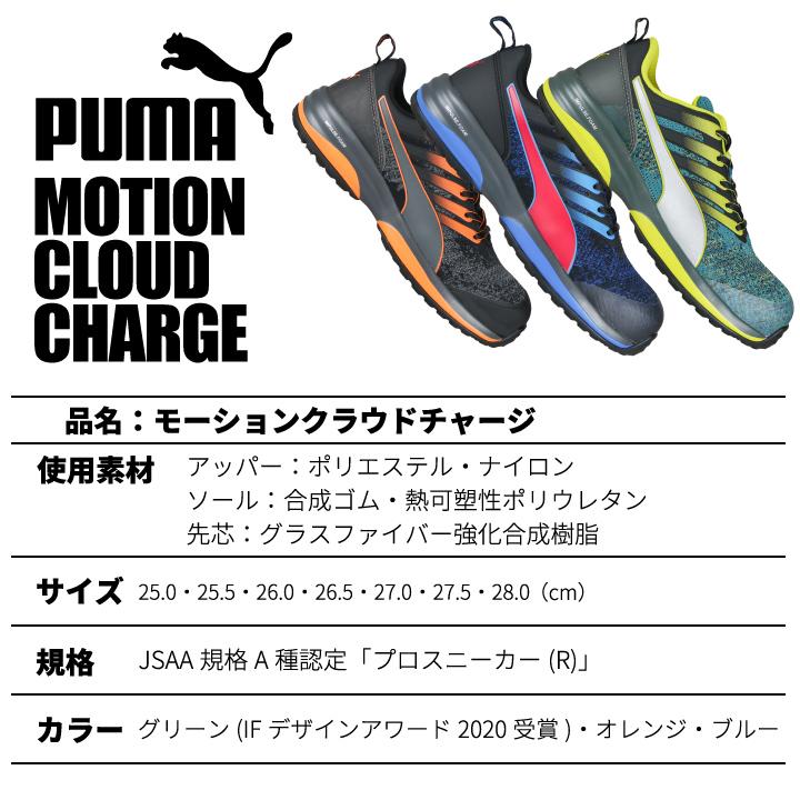 【即日発送】安全靴 プーマ おしゃれ PUMA モーションクラウドチャージ MOTION CLOUD CHRGE 衝撃吸収 静電 JSAA規格 グラスファイバー強化合成樹脂 スニーカー 作業靴 ローカット