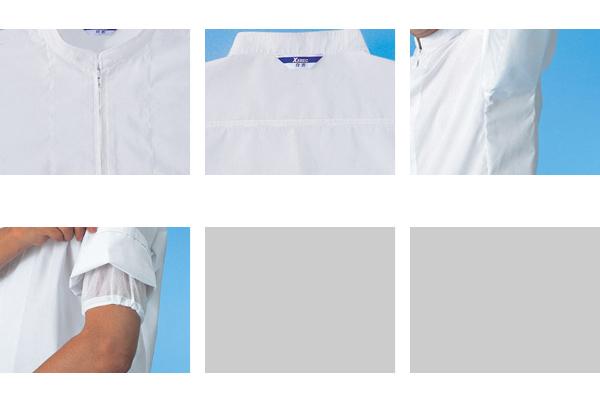白衣 ジーベック 25206 ユニフォーム 食品工場 半袖ファスナー ジャンパー(立ち衿)作業着 作業服 XEBEC デグズ