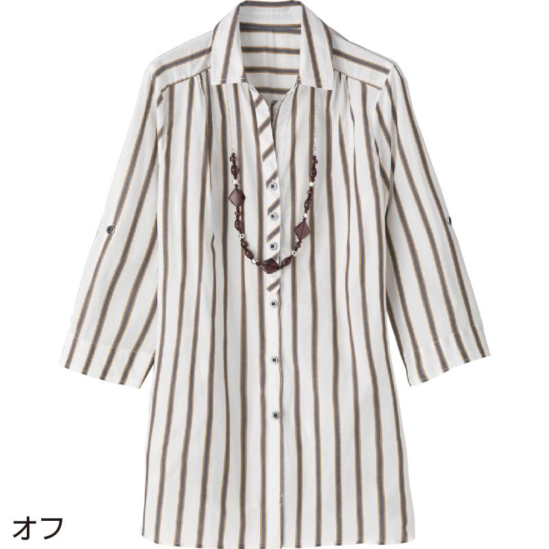 60代・70代・80代・90代の母親・祖母へプレゼント8分袖ネックレス付ブラウス M/オフ