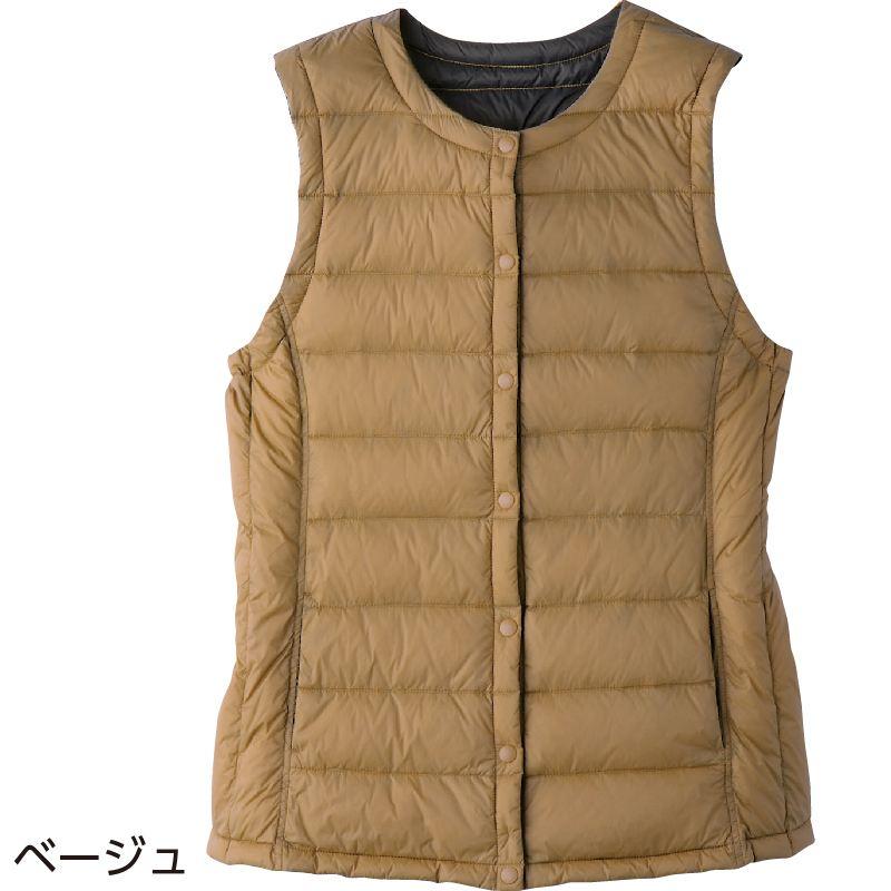 60代・70代・80代・90代の女性へプレゼント4通り着られるリバーシブル軽量ダウンベスト 婦人L/ベージュ