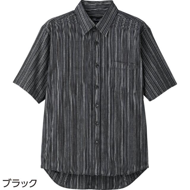 播州織らくらくボタン半袖シャツ ブラック(Lサイズ)