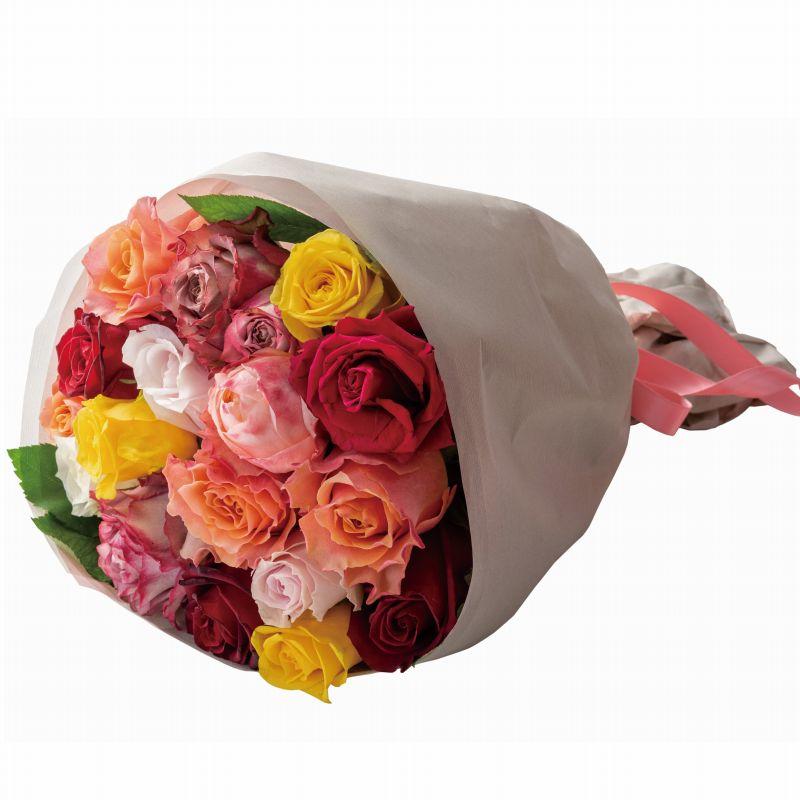60代・70代・80代・90代の女性へプレゼントバラのブーケ(生花) ミックス 18本-ホシファーム