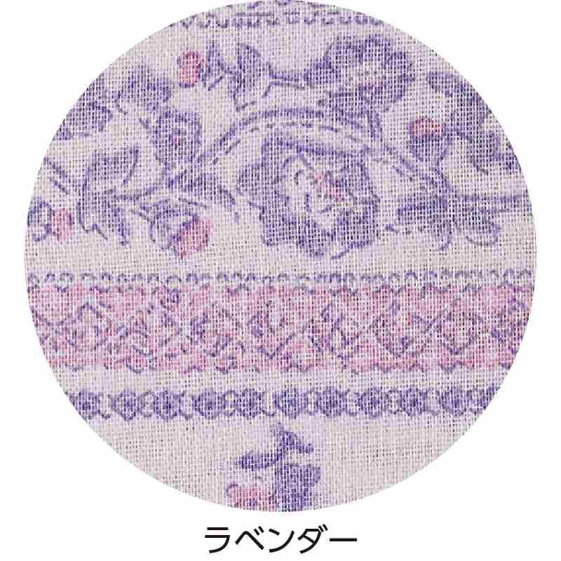大きめボタンダブルガーゼ8分袖パジャマM/ラベンダー