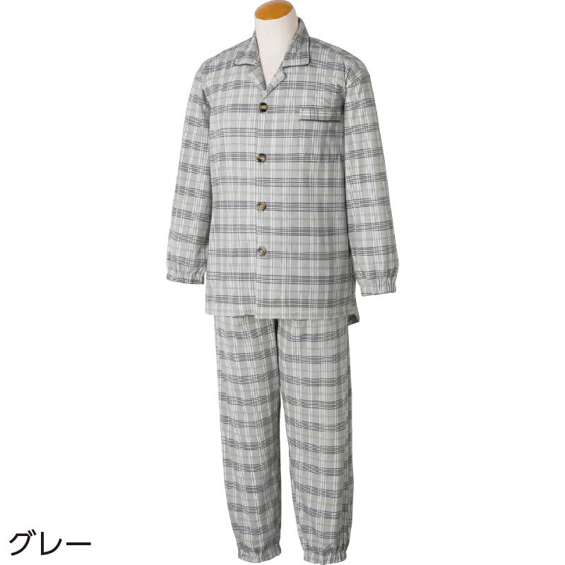 60代・70代・80代・90代の男性へプレゼントとめやすい大きめボタンパジャマ 紳士M/グレー