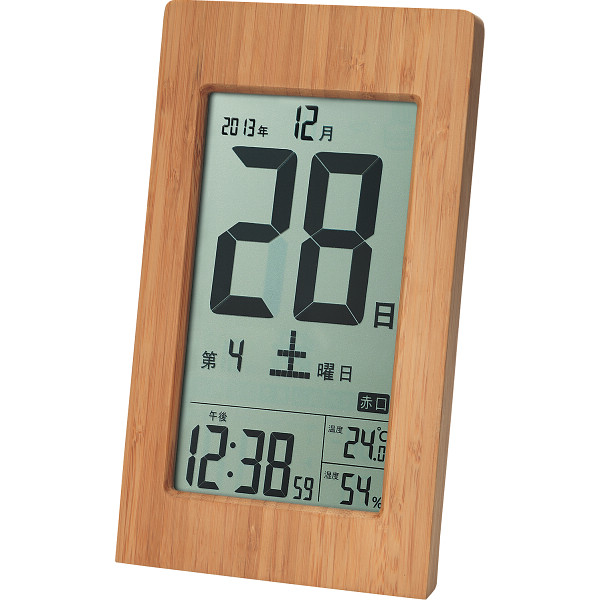 日めくりカレンダー型 竹製 大きな電波時計