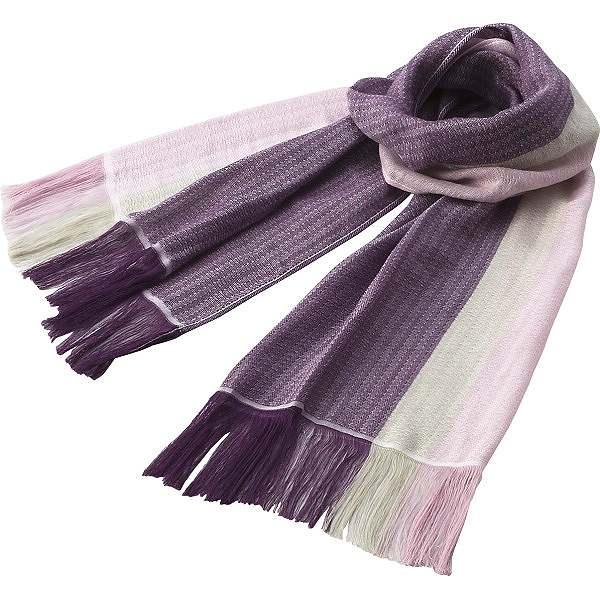 人気プレゼントランキング 祖父・祖母・父親・母親・高齢者へラインカラー コットンマフラー/パープル×濃紫