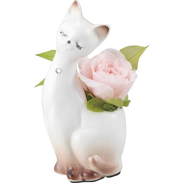 60代・70代・80代・90代の女性へプレゼント猫の陶器入り プリザーブドフラワー/ソフトピンク