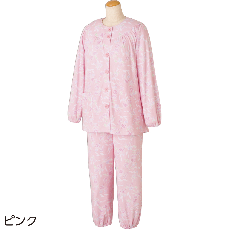 60代・70代・80代・90代の女性へプレゼントとめやすい大きめボタンパジャマ婦人L/ピンク