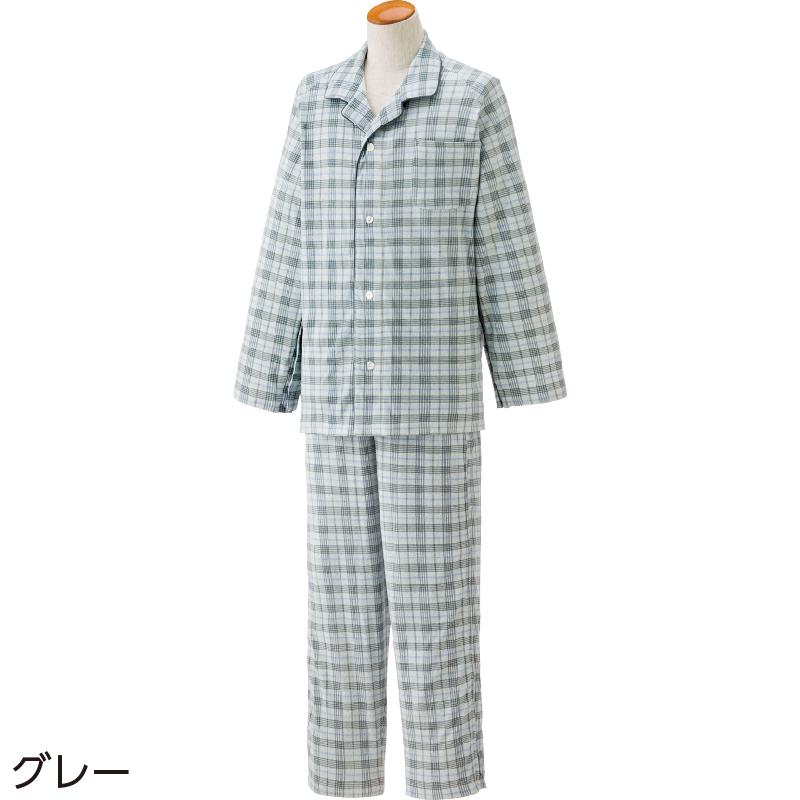 人気プレゼントランキング 祖父・祖母・父親・母親・高齢者へ介護しやすい全開になるパジャマ 紳士 L/グレー