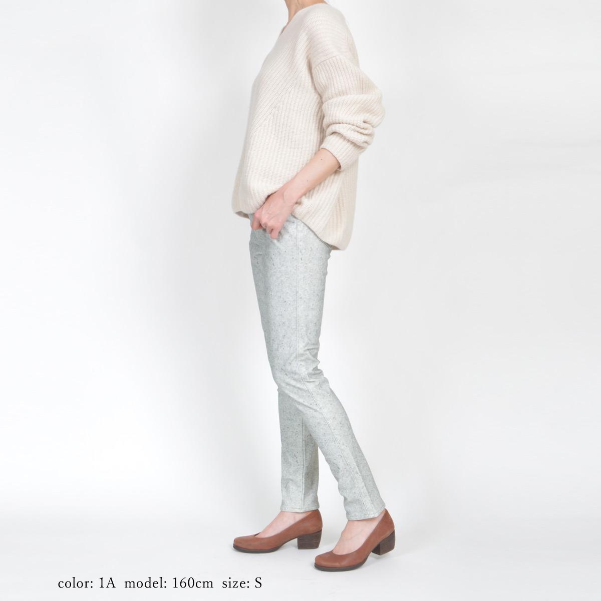 【SALE】Mrs.Jeana ■暖■ 裏起毛ハイテンションプリントスキニー MJ4491
