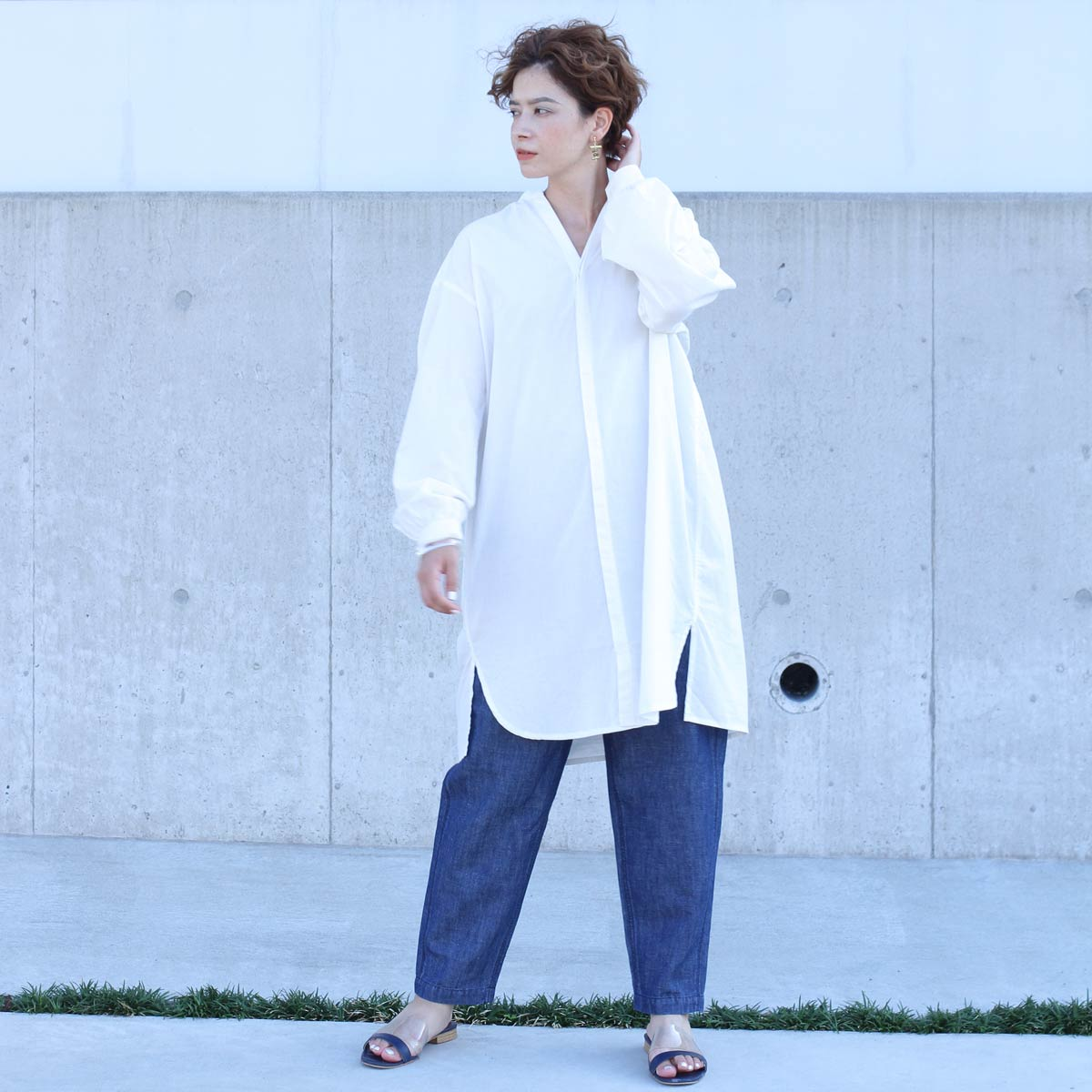 【SALE】ロングコクーンシャツ CF7183