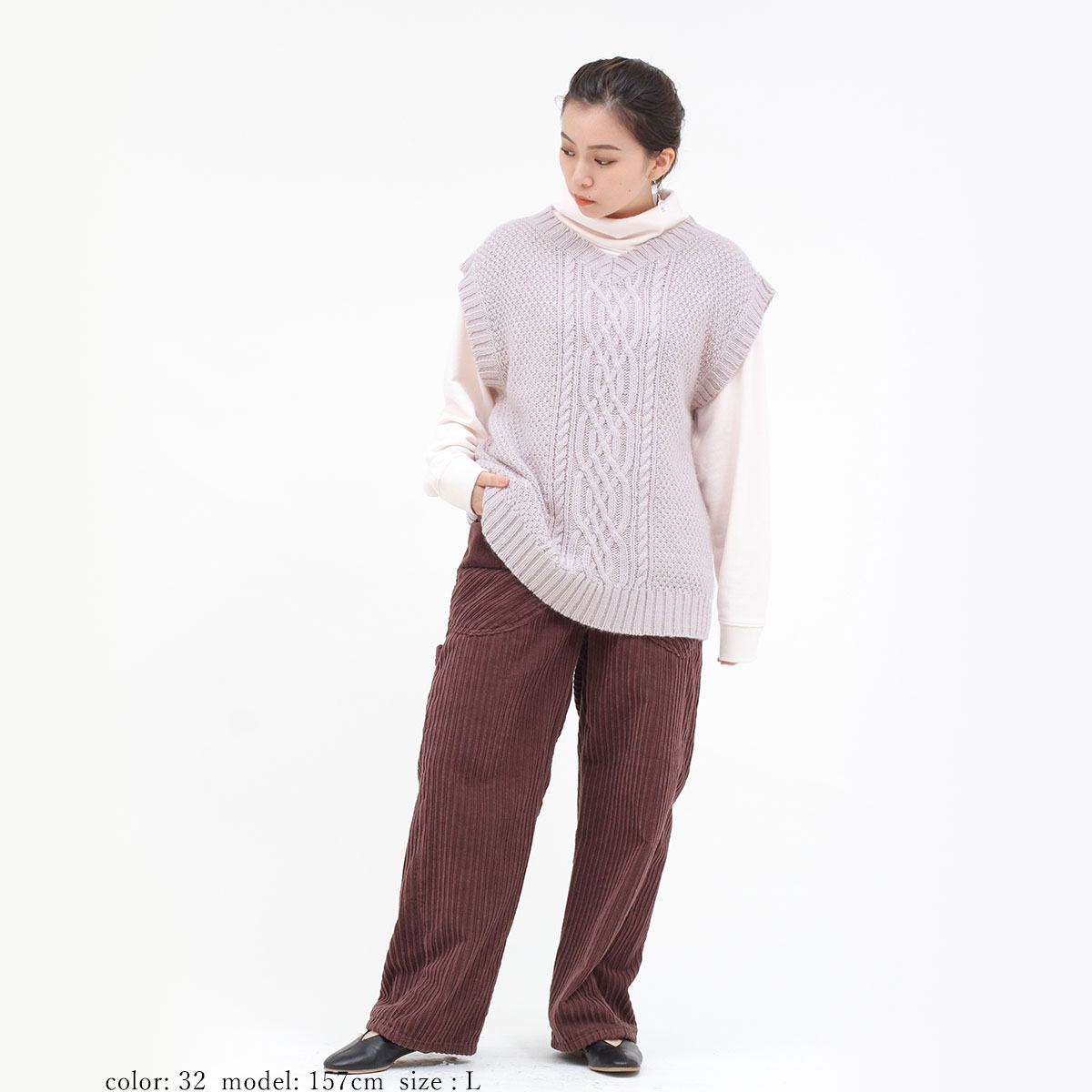 【SALE】ケーブルニットベスト CF6021