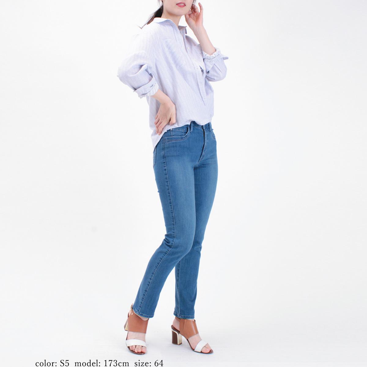 【SALE】Mrs.Jeana GOLD ■涼■クールビューティストレッチデニム サマーテーパードストレート GM3912
