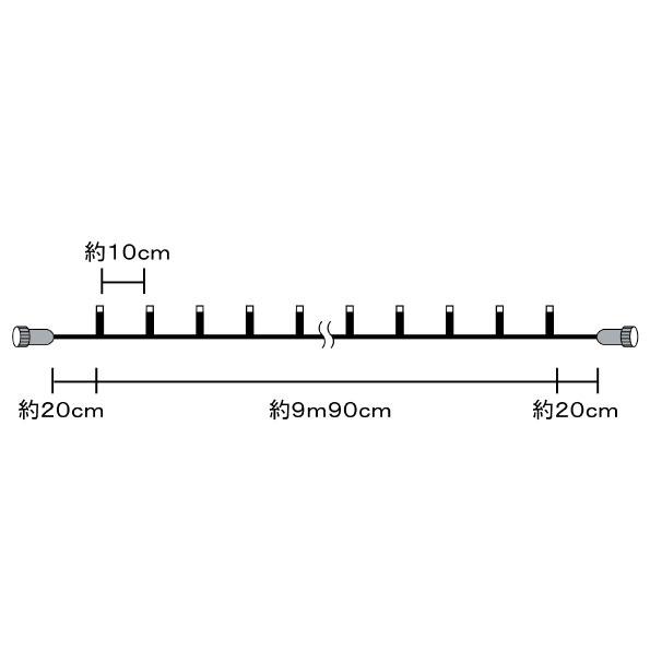 コロナ防雨型LED100球 ミルキーウェイライト【2型】 黒コード/黄緑・青球 クロスライセンス品