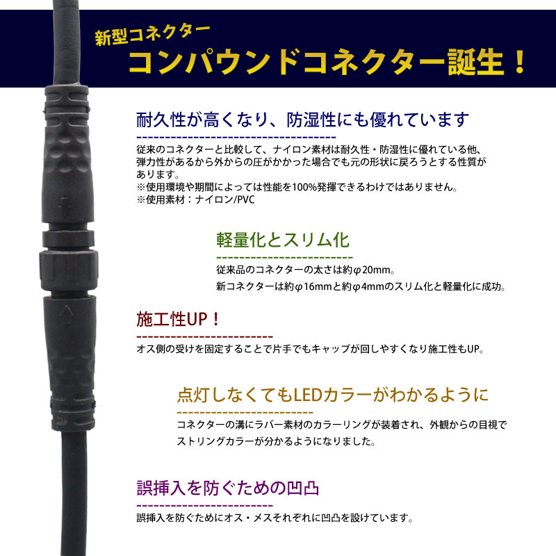 RLプロフェッショナルLED 2芯 100球ストリングライト 電源部別売 クリアコード Ver2