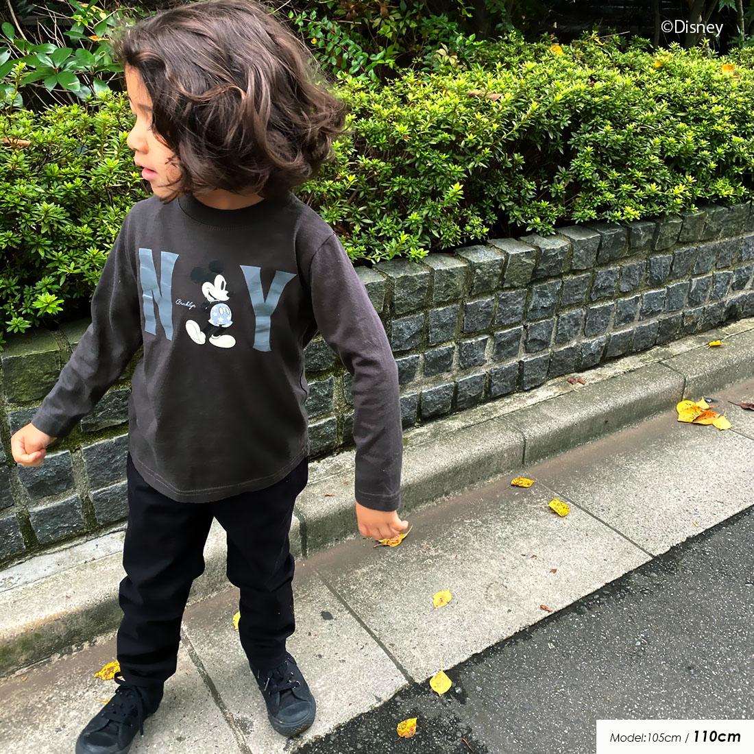 ディズニー 親子ペア お揃い NY ミッキーマウス ロンT(80cm 90cm 100cm 110cm 120cm 130cm 140cm 150cm)Disney 長袖Tシャツ 20AW 【メール便可】