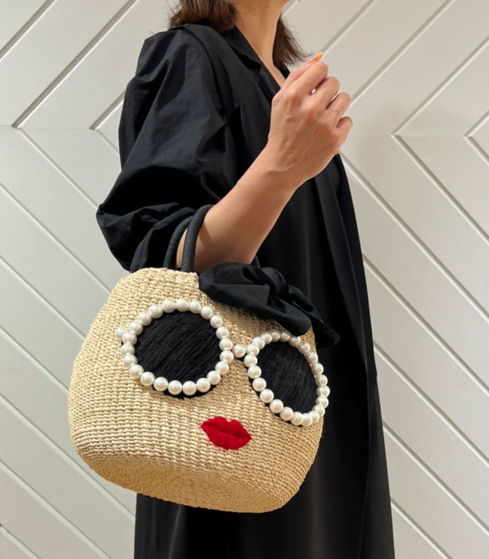 【a-jolie(アジョリー)】パールサングラスフェイスカゴバッグ★☆
