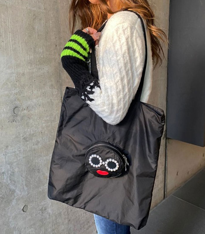 【a-jolie(アジョリー)】パールサングラス ラウンドファスナーポケット 付エコトートバッグ★