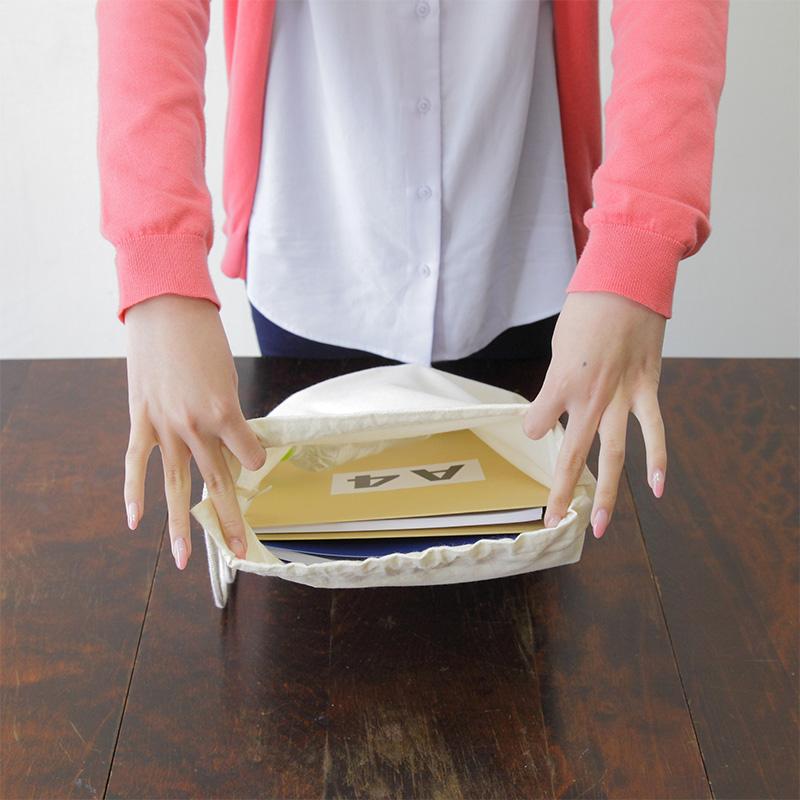 コットンショルダー巾着[B4程度/薄手/マチ無し]│名入れエコバッグ