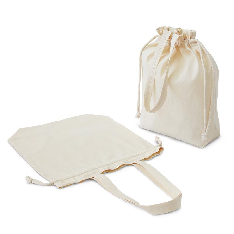 コットンエコ巾着 (Lサイズ)[B4程度/薄手/底マチ]│名入れエコバッグ