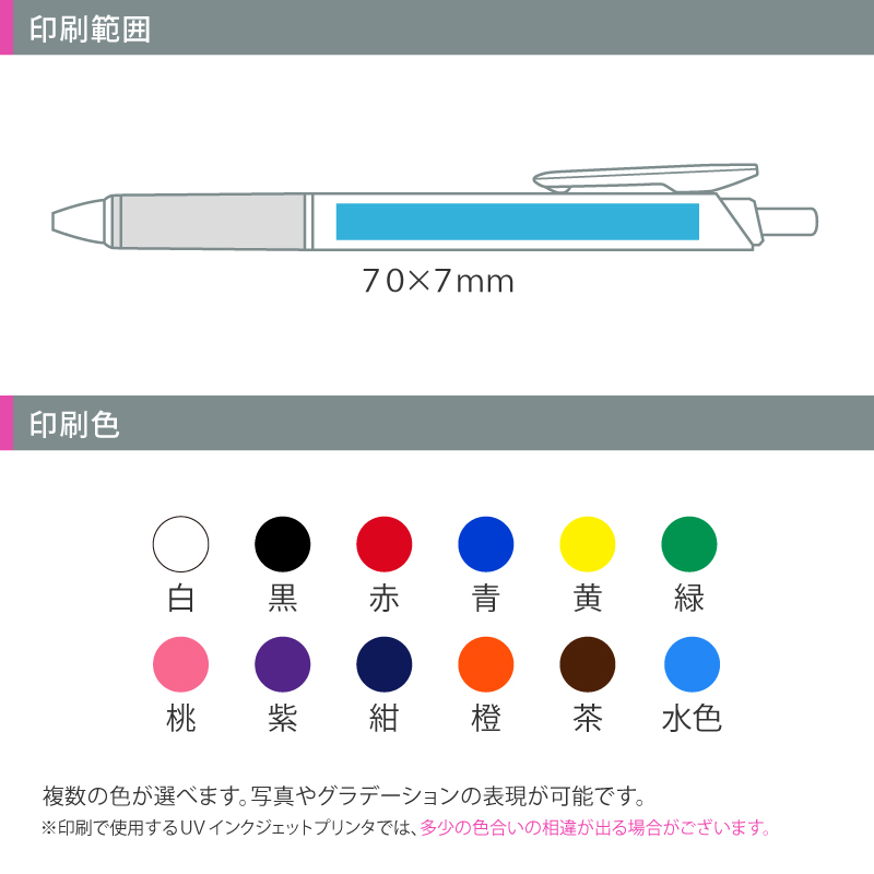 ぺんてる ビクーニャフィール 0.7 ワイドオープンクリップ 白軸│名入れボールペン